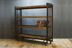 USA, c.1930s. Vintage Industrial Factory Steel and Wood Cart