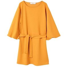 Bow Belted Dress (12 KWD) ❤ liked on Polyvore featuring dresses, yellow dress with belt, 3/4 sleeve dress, belt dress, belted dress and three quarter sleeve dresses