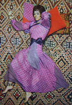 1969 - Yves Saint Laurent dress with a Moroccan Berber carpet as the backdrop