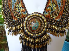 Queen of Paisley Bead Woven Collar Beaded Embroidery by gayhuntley