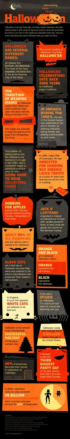 Halloween Facts - Would you believe that the Jack O'Lanterns originated in Ireland and were first made out of turnips? Have you ever wondered why orange and black are traditional Halloween colors? What is the story behind bobbing apples?   Show this infographic to your students and enjoy reading some engaging information about Halloween. #halloween #jackolantern #holiday