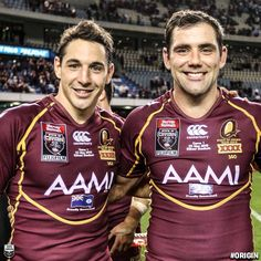 Billy Slater & Cameron Smith, Queensland State of Origin. Rugby League, Rugby Players, Johnathan Thurston, Badminton Sport, Cameron Smith, Australian Football, Wrestling Shoes, Athletic Men