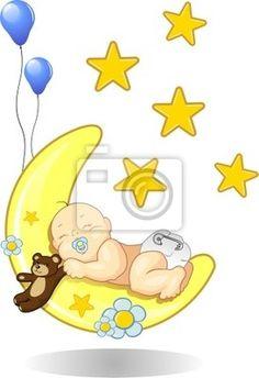 Fotomural Bebé durmiendo en la luna