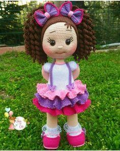 Doll Amigurumi Free Pattern, Crochet Doll Pattern, Amigurumi Doll, Crochet Dolls, Crochet Baby, Free Crochet, Baby Jewelry, Pretty Dolls, Doll Patterns