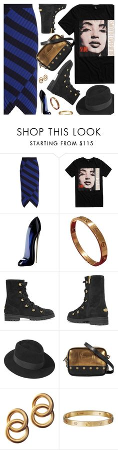 """Dress Up a T-Shirt"" by pokadoll ❤ liked on Polyvore featuring Altuzarra, Carolina Herrera, Cartier, Jimmy Choo, Maison Michel, Sonia Rykiel, Laura Lombardi, polyvoreeditorial and polyvoreset"