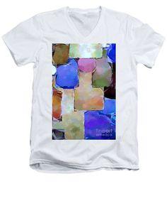 Men's V-Neck T-Shirt - Purple Squares