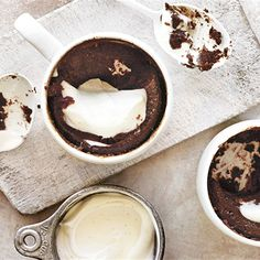 Make dessert in a mug with this recipe from Donna Hay. Her delicious chocolate pudding cups can be made in the microwave for a real quick treat! Pudding In A Mug, Chocolate Pudding Cups, Dessert In A Mug, Mug Cake Microwave, Biscuit Cookies, Delicious Chocolate, Real Quick, Dorm Life, Almond Recipes