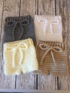 Crochet baby diaper cover shorts, newborn photo prop, knit diaper cover, custom colors, made to order