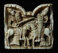 Chess pieces,rider, Adam and Eve. France, 12th Ivory,traces of gold OA 3297