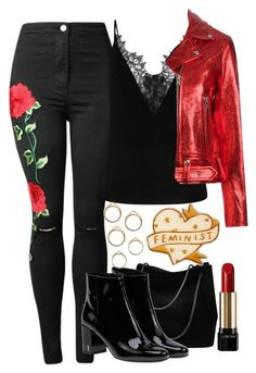 """""""valentine's day"""" by smirnova-varya ❤ liked on Polyvore featuring Gucci, Yves Saint Laurent, IRO and Lancôme"""