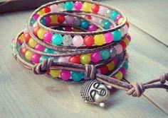 Jade Wrap Bracelet Zen Buddha Bright Jade 5x by TowerCreationsbyTC