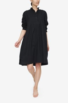 If you are looking for a nightshirt you can comfortably wear to bed, over breakfast with house guests, or when answering the door to room service, we've got you covered. This classic piece is based on a vintage men's chemise, but its modern cut makes it easy to wear, and incredibly chic. We've done flannels before, but this classic black takes it to a new level. This flannel is soft and luxurious; it's perfect for winter nights. Striped Fabrics, Sheer Fabrics, Button Down Sleep Shirt, Black Underwear, Black Weave, Black Linen, Comfortable Outfits, Wearing Black, Lounge Wear
