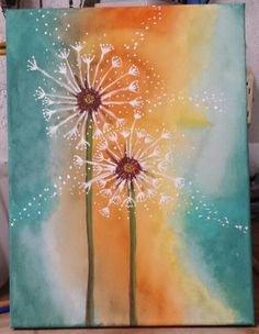 Acrylic paint on canvas dandelion