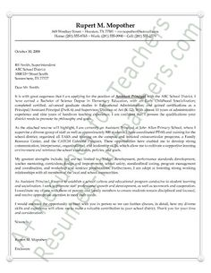 assistant principal cover letter sample or example aka letter of intent or letter of interest