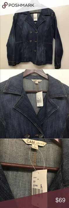 CAbi #518 Blue Jean Double Breasted Peacoat Large CAbi #518 Blue Jean Double Breasted Peacoat Large NWT CAbi Jackets & Coats Jean Jackets