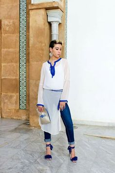 Tunique Moroccan Dress, Moroccan Style, Abaya Fashion, Mode Hijab, Boho, Clothes For Women, Chic, Blouse, Womens Fashion