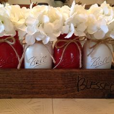 Set of 4 Stunning, High gloss Mason Jars, Sitting perfectly in a custom wooden planter, Finished in Espresso and blessed inscribed! Fantastic holiday decor