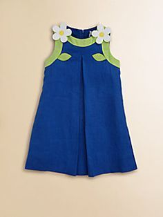 Florence Eiseman Toddler's & Little Girl's Linen Dress. Her lines are simple yet sweet. Frocks For Babies, Baby Girl Frocks, Kids Frocks, Frocks For Girls, Little Girl Dresses, Girls Dresses, Toddler Dress, Toddler Outfits, Kids Outfits