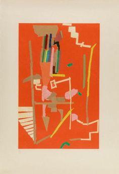 ANDRE LANSKOY COMPOSITION ABSTRAITE Lithographie en couleurs et embossage