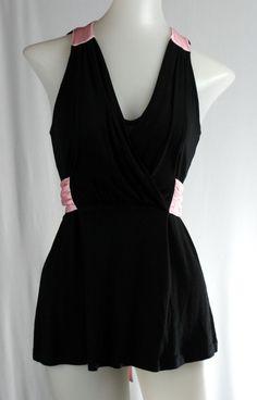 MODA INTERNATIONAL S Black Pink Empire Bow Tie Waist Sleeveless Stretch Shirt #ModaInternational #KnitTop #Casual