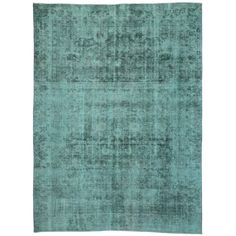 Vintage Persian Tabriz Rug Overdyed in Aqua with Modern Industrial Style