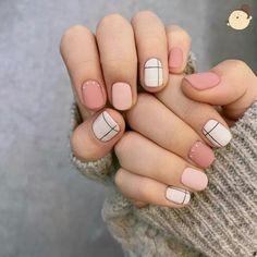 Interesting white geometric contrast nail