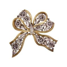 Trifari Black Rhinestone Bow Pin ($252) ❤ liked on Polyvore featuring jewelry, brooches, brooches & lapel pins, flower jewelry, trifari, pin brooch, rhinestone broach and flower jewellery