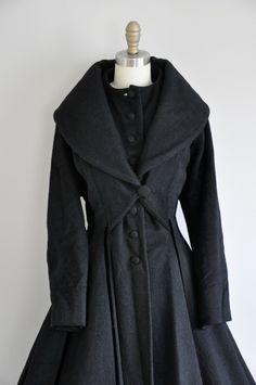 vintage RARE 1950s Lilli Ann princess coat / 50s black princess coat / 50s designer coat. $425.00, via Etsy.