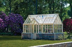 Victorian Villa greenhouse with attractive stone base and yellow-cream frame by Hartley Botanic: http://www.hartley-greenhouses.com/