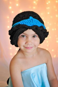 Crochet Princess Jasmine inspired hat wig by JazzyOandFamily, $50.00