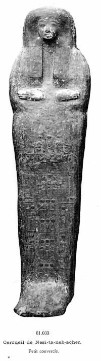 Nestanebtishru, Black and white photo of Nestanebtishru's inner  coffin lid from Georges Daressy's Cercueils des  cachettes royales (Cairo, 1909.)
