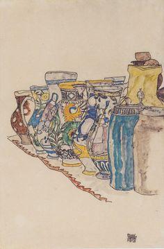 """Painted Jugs"", 1918, Egon Schiele."