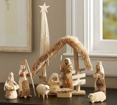 Bottle Brush Nativity Set   Pottery Barn
