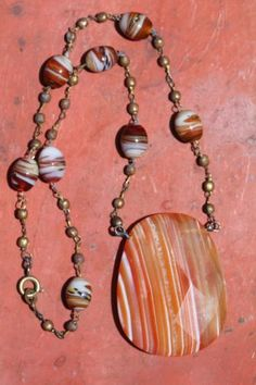 Antique Goldtone Venetian Glass and Large Red Banded Sardonyx Agate Necklace   eBay
