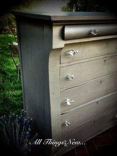 Antique empire dresser painted in ASCP's French Linen with large glass knobs! All things new! Diy Furniture Projects, Diy Projects, Empire Furniture, All Things New, Glass Knobs, Annie Sloan Chalk Paint, Buffets, Dresser, French