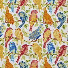 Aqua and Burgundy Bird Themed Print Outdoor Upholstery Fabric