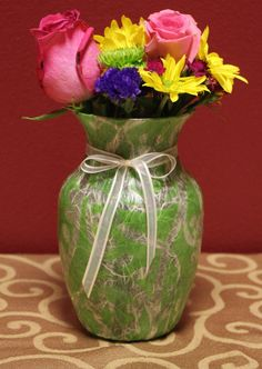 Green Handmade Batik Paper Design Glass Vase by KjgBoutique on Etsy