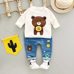 bdca8a65a 2017 new baby boys clothes Autumn Long sleeves Kids Clothes Sets cute bear  boy T-shirt + jeans Newborn clothes baby clothing set