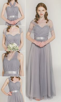 convertible tulle bridesmaid dresses with different colors TBQP307