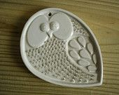 Mid-Century Modern Owl Plaque Vintage Studio Art Pottery Owl Wall Hanging Kitchen Grater
