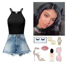 """u r changing..$"" by seniora ❤ liked on Polyvore featuring Off-White, Dsquared2, Huda Beauty, Gucci, Rolex, Lime Crime and Giorgio Armani"