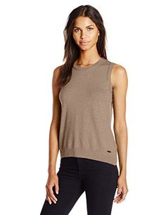 64107a8e08d8bf Calvin Klein Women s Sleeveless Solid Shell Top at Amazon Women s Clothing  store