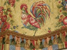 Custom VALANCE French Country Waverly Fabric Gold Red Rooster Toile Stripe Trim - Waverly Saison de Printemps Rooster Toile Valance in gold… - French Country Curtains, Country Valances, French Curtains, French Country Bedrooms, French Country Cottage, French Country Style, Country Blue, Vintage Curtains, Floral Curtains