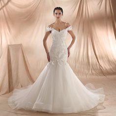 Amanda Novias 2018 Nový model Mermaid svatební šaty Lemování krajka Svatební šaty