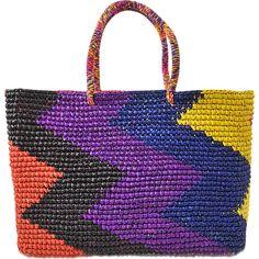 Sensi Studio Split Personality Maxi Tote ($265) ❤ liked on Polyvore featuring bags, handbags, tote bags, multicoloured, multi color purse, colorful tote bags, multicolor handbags, handbags totes and multi colored handbags