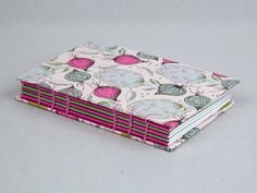 Pink & Green Wild Onion & Artichoke Vegetable Coptic Bound Sketchbook / Journal / Notebook by The Eloise Bindery
