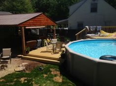 Above ground pool deck. Above Ground Pool Decks, In Ground Pools, Pool Ideas, Patio Ideas, Deck Patio, Backyard, Outdoor Stuff, Outdoor Decor, Outdoor Living