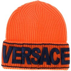 da090f35c29 Versace Logo manifesto beanie ( 295) ❤ liked on Polyvore featuring  accessories