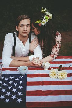 boho wedding. flower crown and american flag