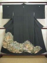Mint C404M Vintage Japanese Kimono   Black TOMESODE formal Mountain Silk. (Grade A)